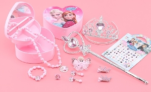 Disney Frozen Pink Jewelry Set with Jewelry box and mirror 12 pcs